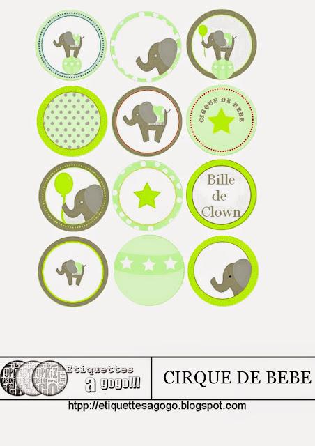 El Circo del Bebé: Etiquetas para Imprimir Gratis.