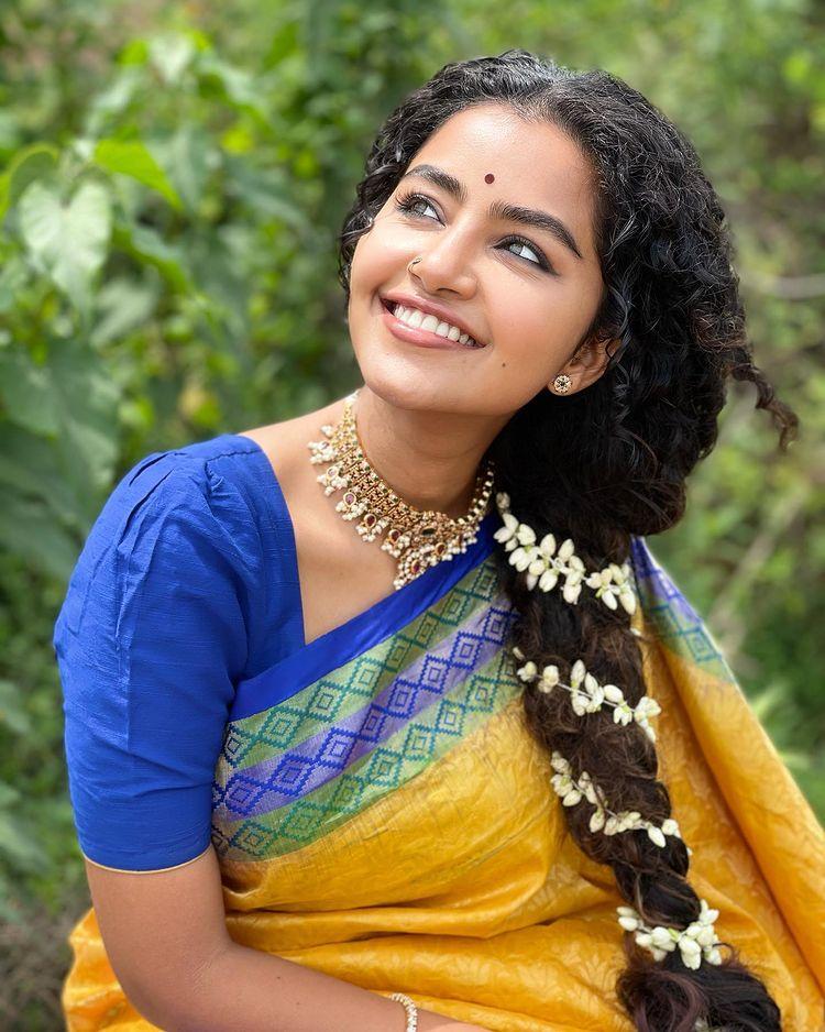 Anupama Parameswaran with Yellow Saree Photos