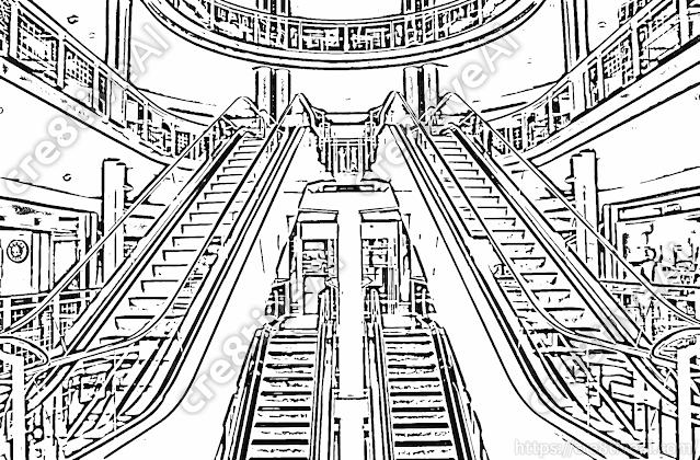 エスカレーター_線画4