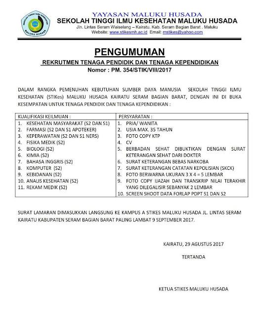 Rekrutmen Tenaga Pendidik dan Tenaga Kependidikan Stikes Maluku Husada