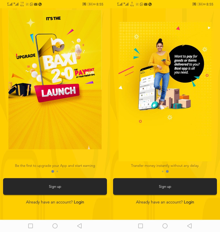 Baxi Mobile app sign up