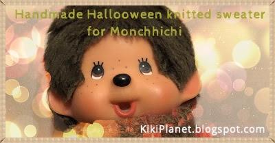 kiki monchhichi pull knitting tricot fait main handmade halloween doll poupée vêtement