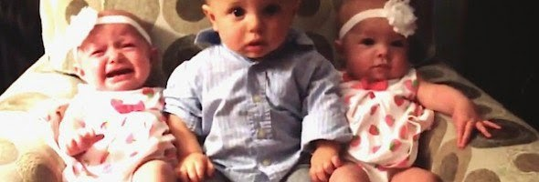 confused baby meets twins