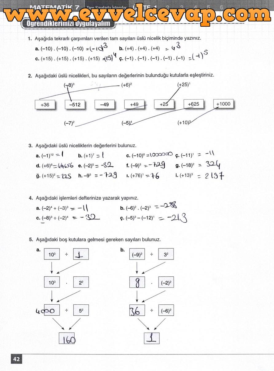 7. Sınıf Matematik Koza Yayınları 42. Sayfa Cevapları