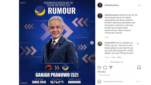 Viral Poster Ganjar Pranowo Menuju Nasdem, Warganet: Berani Keluar PDIP?