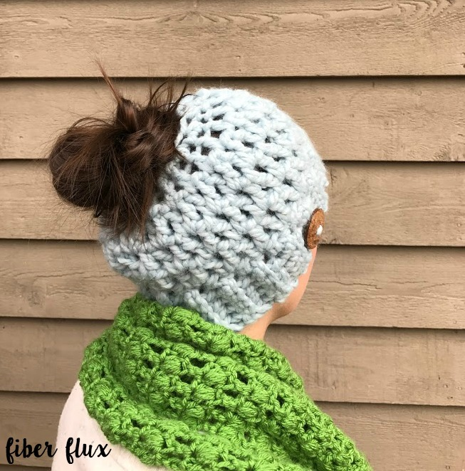 Fiber Flux Free Crochet Patternunky Messy Bun Hat