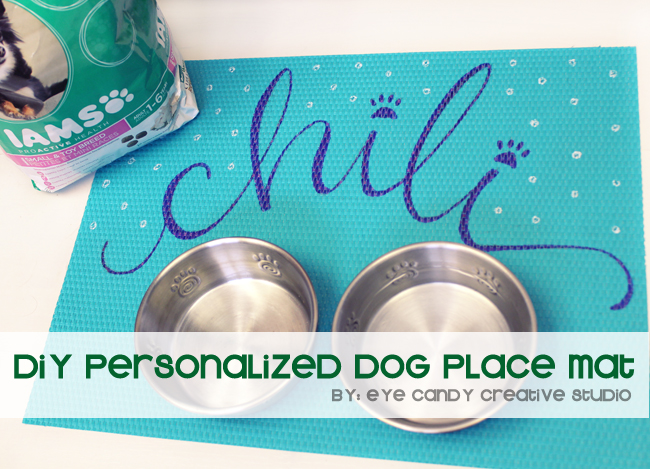Chili the pup, hand lettered place mat, crafts to make for your dog, Iams