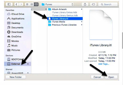 How can iTunes library be installed on an external hard drive?