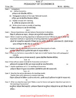 Pedagogy of Economics B.Ed Question Paper