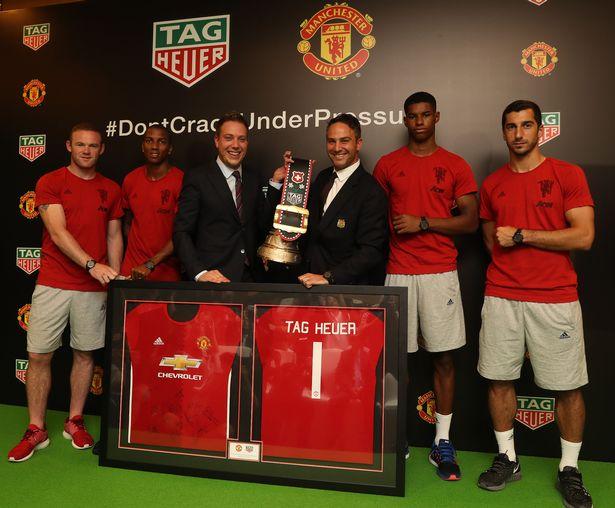 Rooney, young, Rashford y Mkhitaryan en la presentación oficial de TAG Heuer como nuevo sponsor