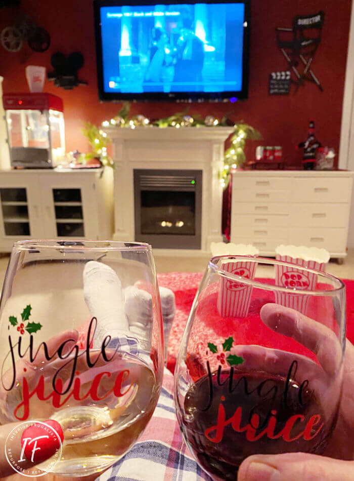 How to make holiday movie night at home extra special! A Scrooge movie marathon with theatre style snacks, fun themed decor, and cozy holiday apparel.