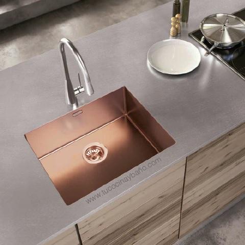 fregadero cobre vintage cocina diseño bajo encimera