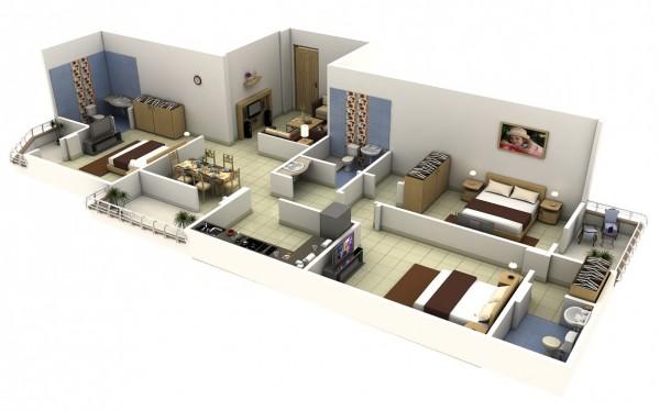 Berikut beberapa desain rumah 3 kamar tidur versi 3D yang bisa digunakan sebagai referensi tempat tinggal keluarga baru anda :