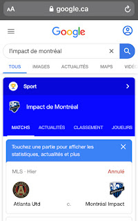 Requete Raccourci Equipe sur Google Sports