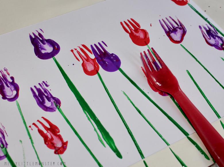 flower fork painting for kids