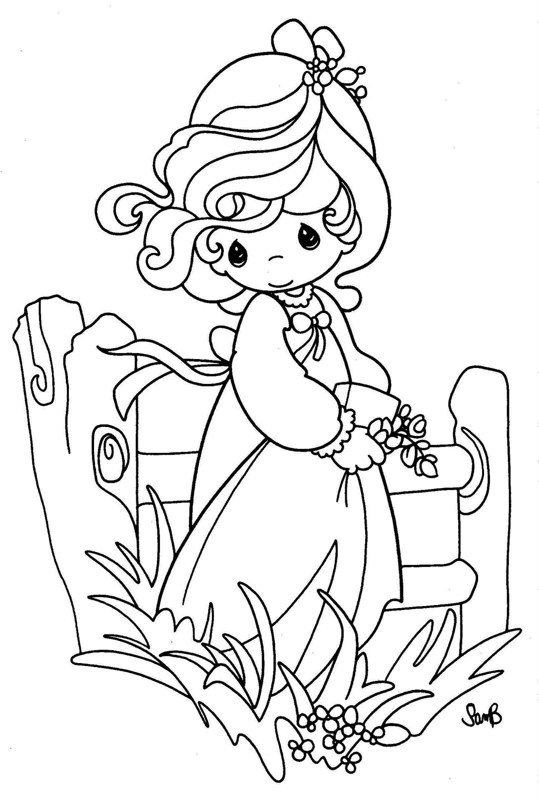 Drawing girl precious moments coloring child coloring for Precious moments coloring page