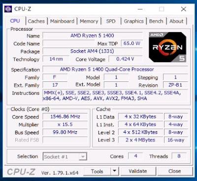 melihat spesifikasi laptop/komputer dengan CPU-Z
