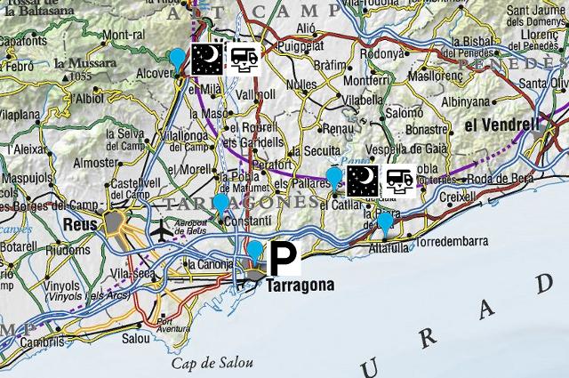 Mapa dels llocs visitats i utilitzats per estacionar i pernoctar