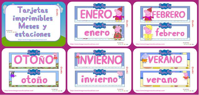 http://www.imageneseducativas.com/tarjetas-imprimibles-meses-y-estaciones-peppa-pig/