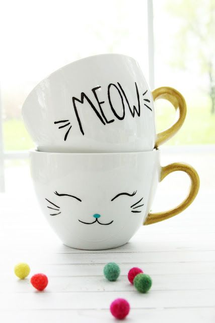 diy painted cat mugs dishwasher safe