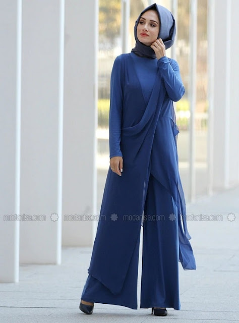 فستان جمبسوت ازرق للمحجبات موديل 2020