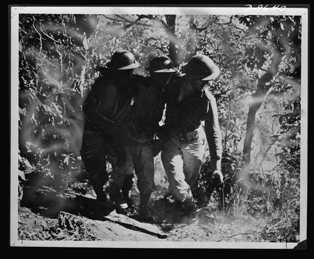 Wounded Filipino soldier on 28 January 1942 worldwartwo.filminspector.com