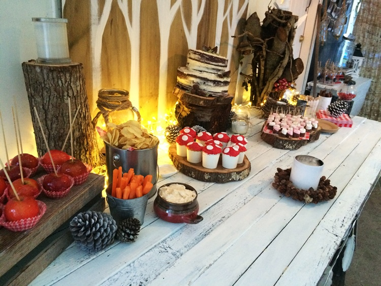 Woodland campfire party - dessert & treat table