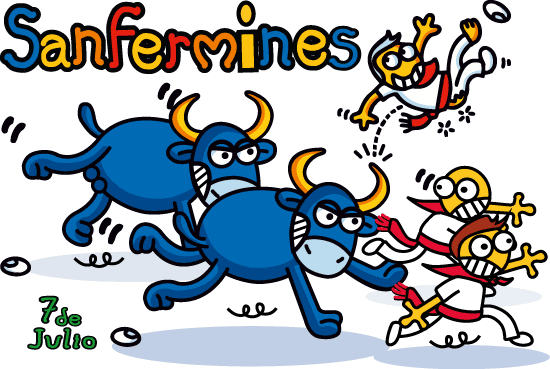 Sanfermines cartoon - vector