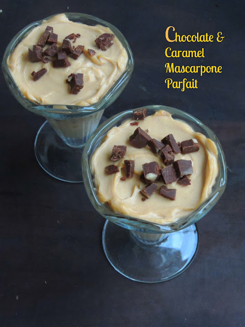 Caramel Mascarpone Parfait with chocolate bites