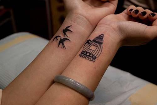bird tattoo cage kuşa kafesi dövmesi