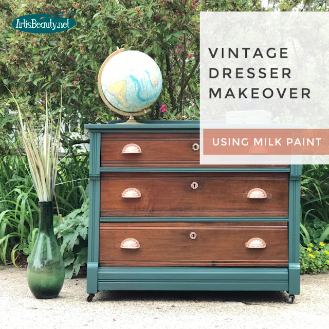 Vintage Dresser Makeover using Milk paint DIY