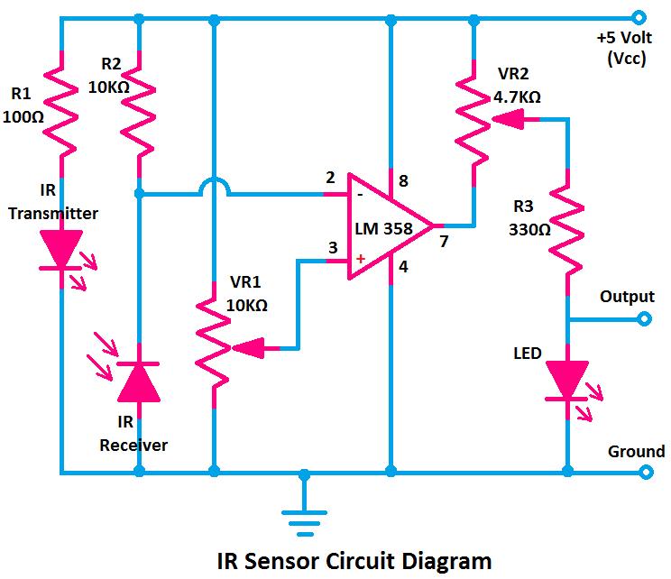 IR Sensor Circuit Diagram, circuit diagram of IR Sensor