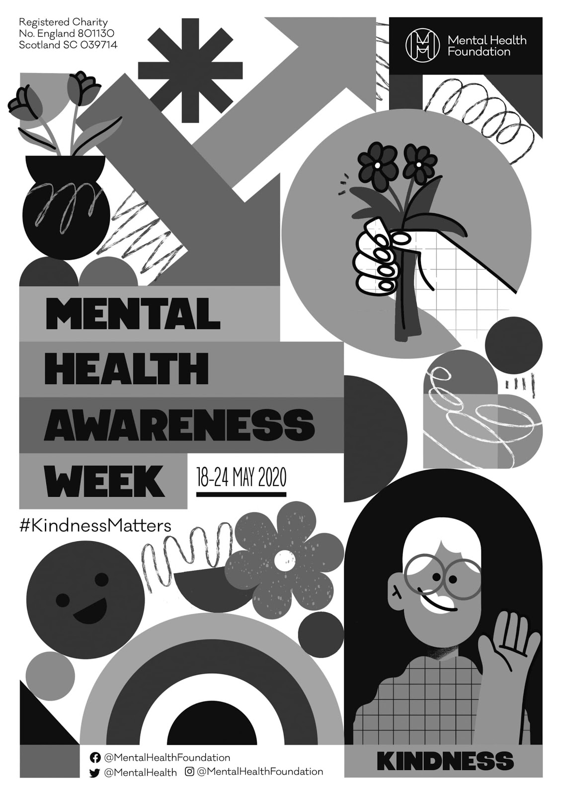 The official black and white poster for mental health awareness week 2020