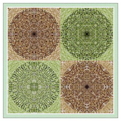 A symmetrical dot pattern.
