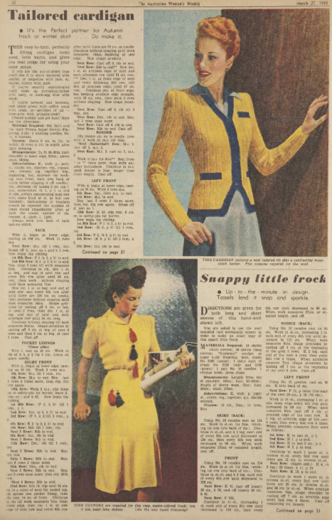 The Vintage Pattern Files: Free 1940s Knitting Pattern - Womens Weekly Knitwear for 1943