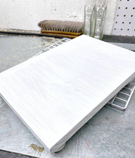 White Scrap wood table riser DIY