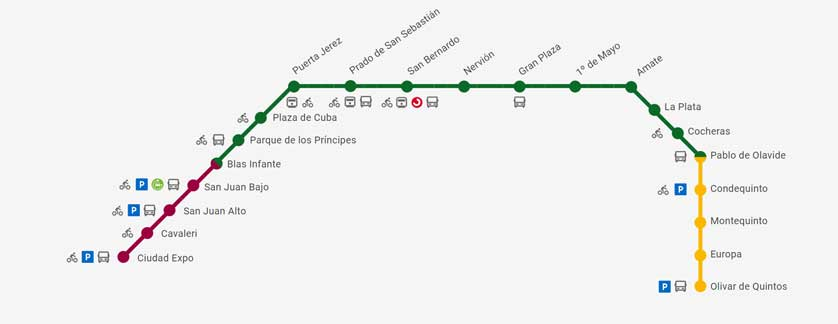 Sevilla Metro Map.