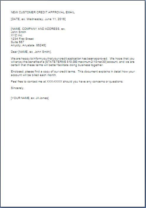 customer credit approval sample letter