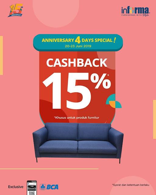 #Informa - #Promo Cashback 15% di Anniversary 4 Days Special (s.d 23 Juni 2019)