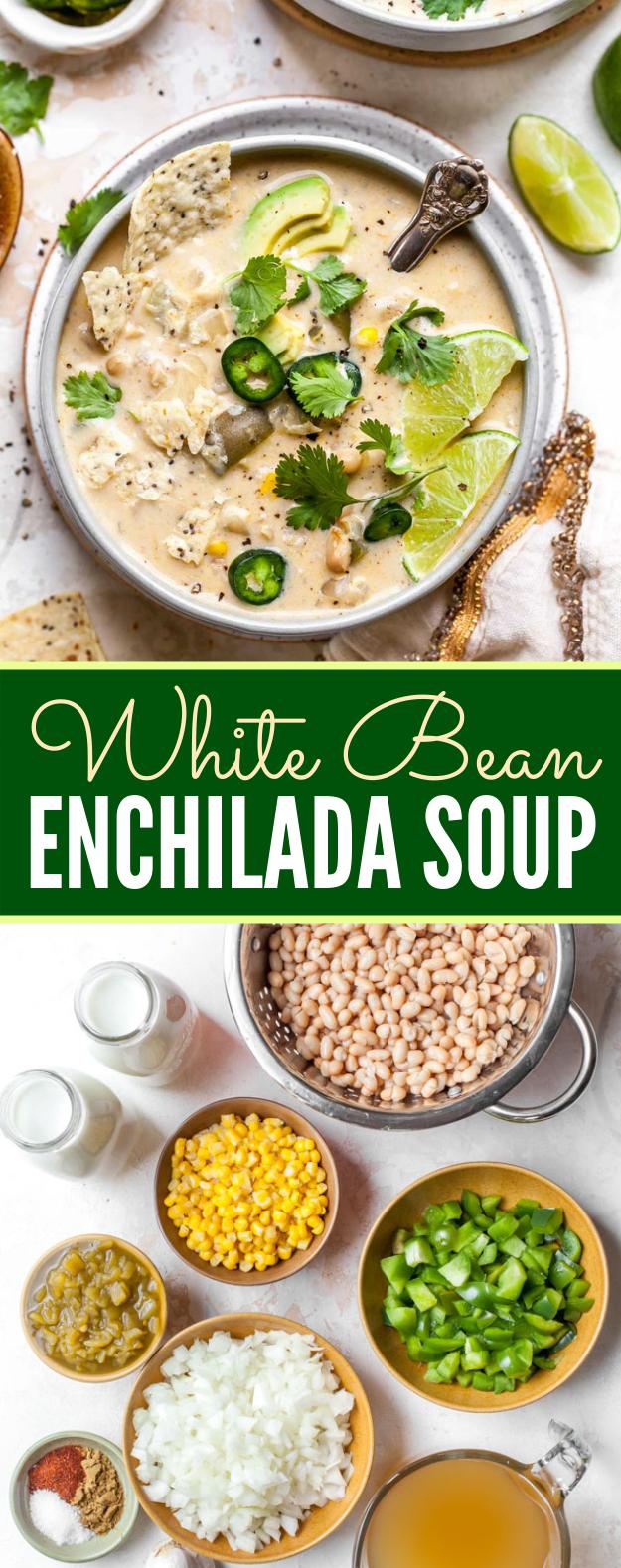 WHITE BEAN ENCHILADA SOUP #vegetarian #lunch #soup #veggies #vegetables