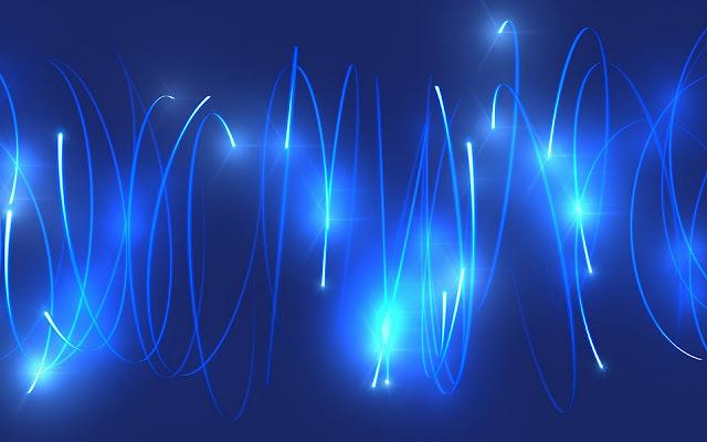 Blauwe abstracte wallpaper met ronde lichtgevende ringen