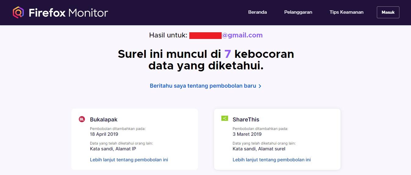 Hasil Pengecekan Firefox Monitor