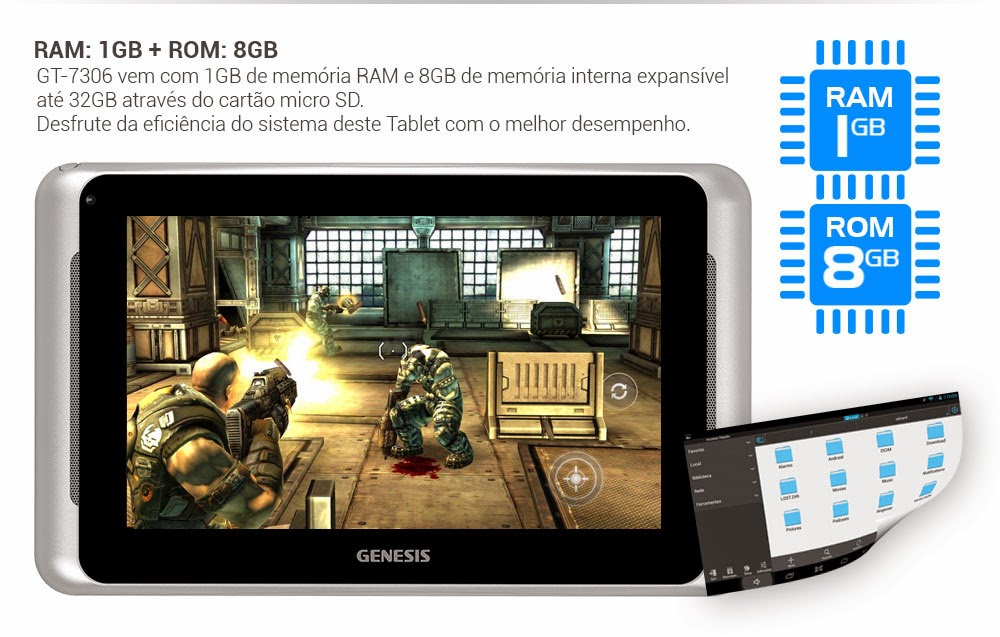 Tablet Genesis GT-7306 Android, Câmera, TV Digital, Dualcore
