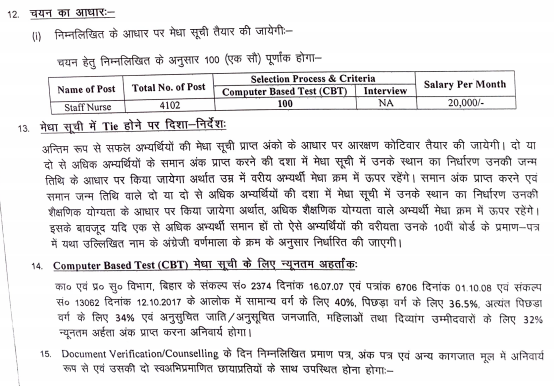 State Health Society Bihar Staff Nurse Exam Pattern