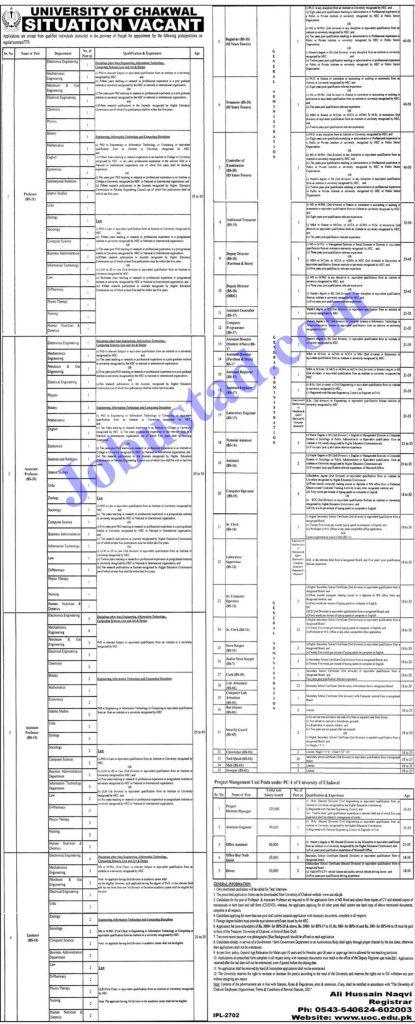 University of Chakwal Jobs 2021 Advertisement