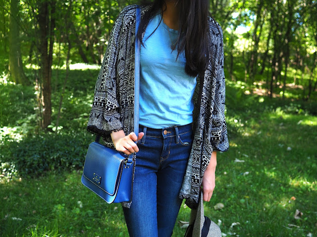 kimono, fashion, outfit, summer, t-shirt, kate spade, jeans, hat