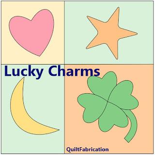 lucky charms-quilt block mania-applique quilt block-quilt pattern-star-moon-heart-clover