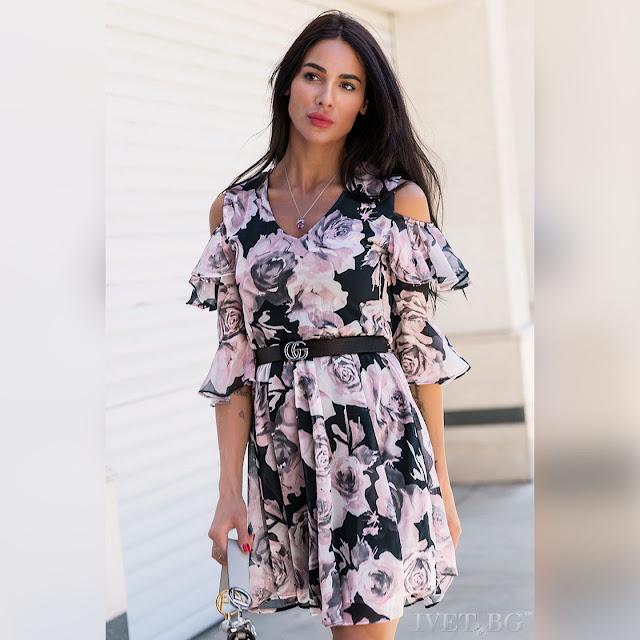 Μοντέρνο χρωματιστό φόρεμα LIZZA