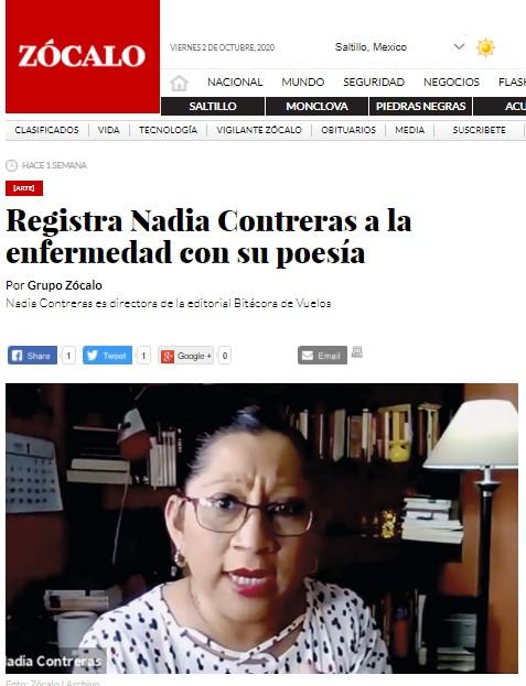Registra Nadia Contreras a la enfermedad con su poesía