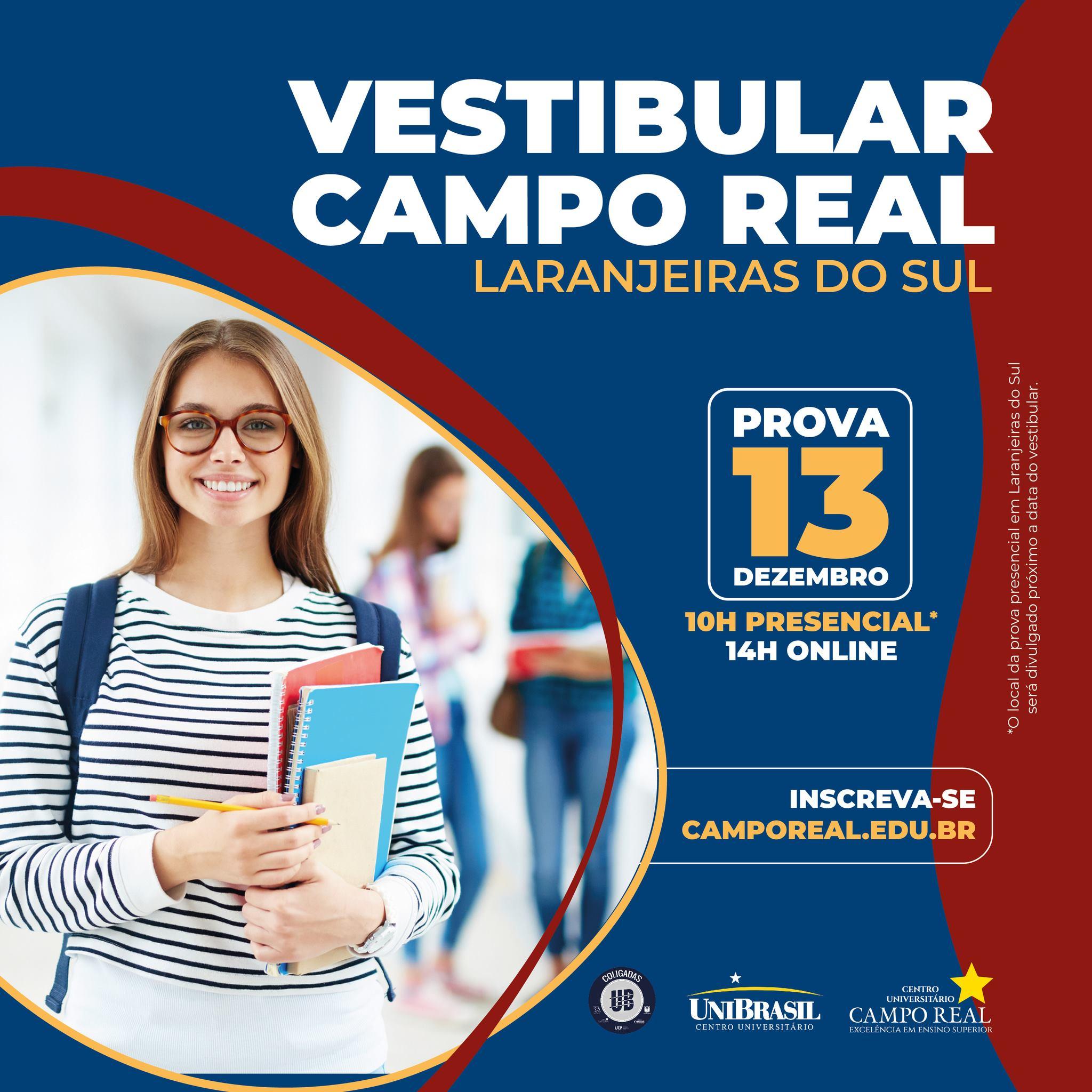 Vestibular Campo Real em Laranjeiras do Sul, INSCRIÇÕES ABERTAS